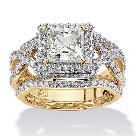 princess cut cubic zirconia 3 pc crossover halo bridal ring 2 82 tcw in 14k yellow gold