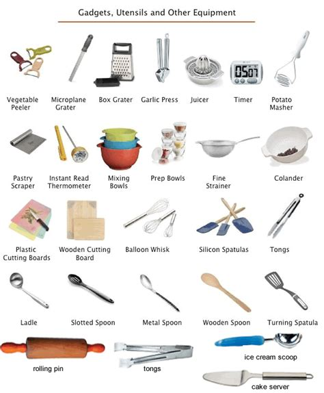 instruments de cuisine kitchen utensils equipment learning