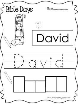 bible days david read trace and write worksheet preschool