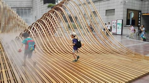 wavy wooden sculptures bamboo sculpture