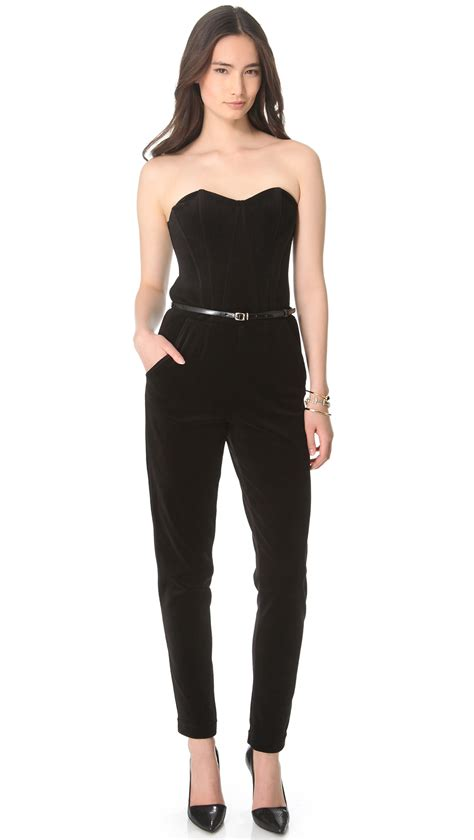 strapless jumpsuit black and white strapless jumpsuit clothing