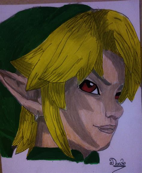 The Legend Of Zelda Link Red Eyes Coloured By