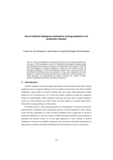 (PDF) Use of artificial intelligence methods to solving