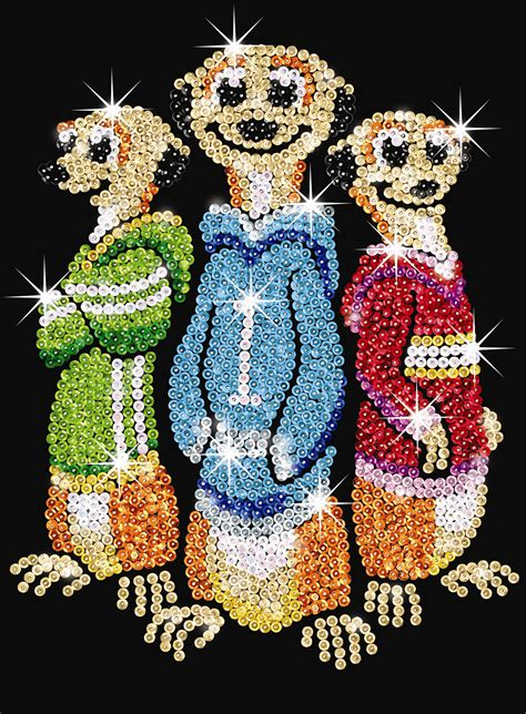sequin art red meerkats sj hobbies
