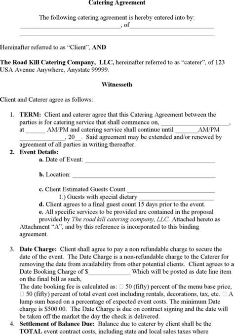 catering contract template catering contract templates find word templates