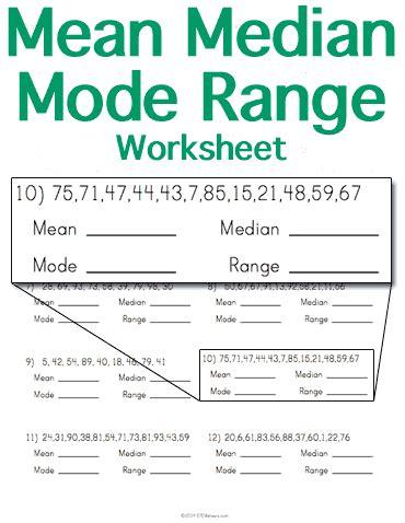 Mean Median Mode Range Worksheet  Stem Sheets