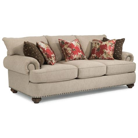 Flexsteel Patterson Stationary Sofa With Nailhead Trim