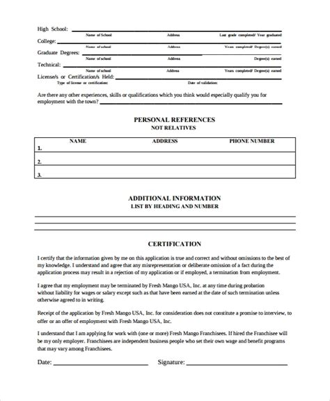 sle work history template 9 free documents