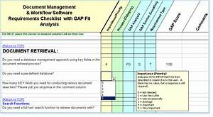 Software system requirements checklist fit gap analysis for Document management system gap analysis