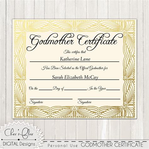 Godparent Certificate Template by Godmother Certificate Official Godfmother Certificate 8 X