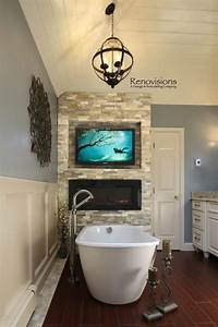 Master bathrooms master bath and masters on pinterest for Bathroom with fireplace and tv