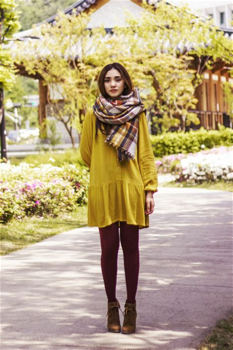 brown boots mustard shirt dress hm dresses spring