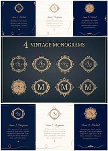 wedding invitations with monograms vector collection With wedding invitation monogram design free