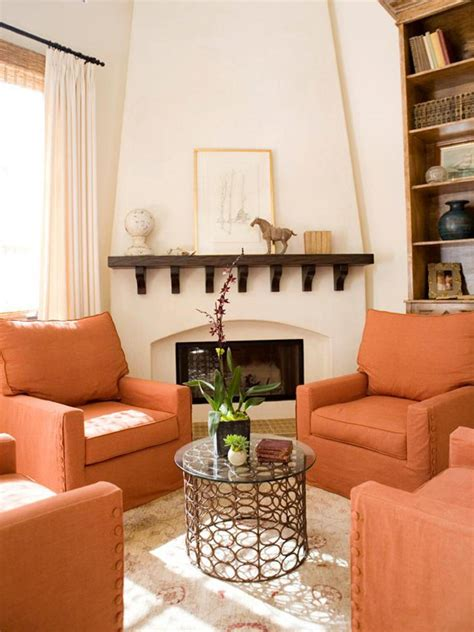 Orange Living Room With Chairs