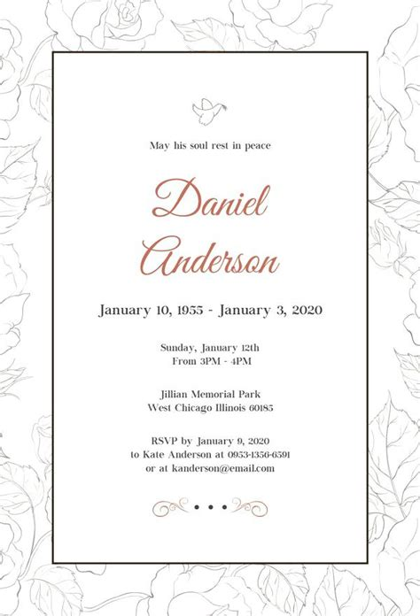 funeral invitation templates  printable funeral