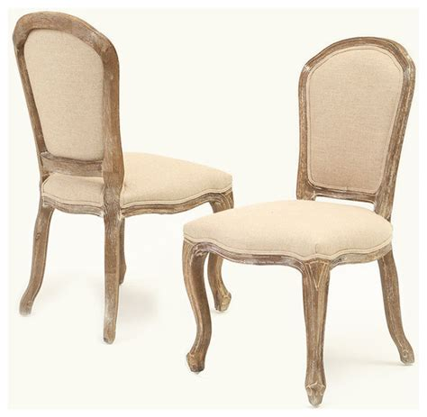 dominique weathered oak armless beige dining chair set of