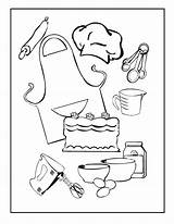 Utensils Kitchen Drawing Coloring Printable Cooking Frozen Getdrawings sketch template
