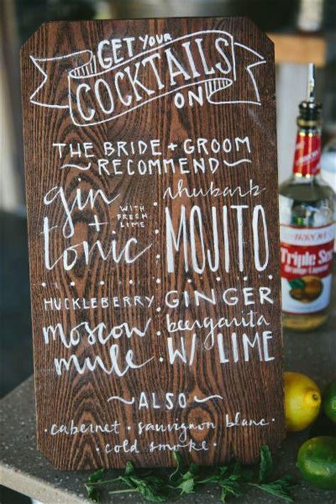 rustic montana ranch wedding cocktail menu bar  drinks