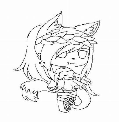 Gacha Coloring Wolf Base Pixilart Gatcha Drawing
