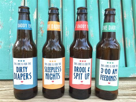 First Time Dad Beer Bottle Labels Gift For Daddy First Time