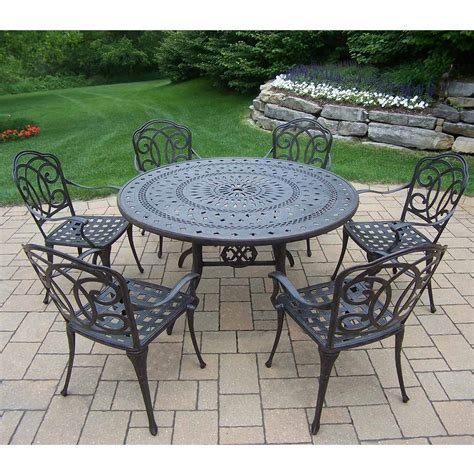 oakland living berkley 7 aged patio set with 54