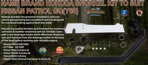Name Brand Kokoda Snorkel Kit to Suit Nissan Patrol GQ (Y60)