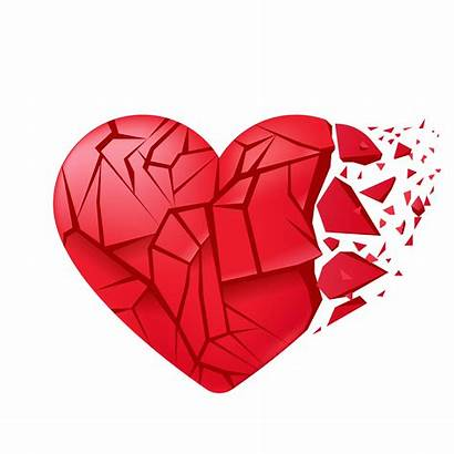 Broken Heart Glass Vector Shards Realistic Isolated