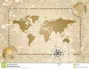 Antike Weltkarte vektor abbildung. Illustration von grunge ...