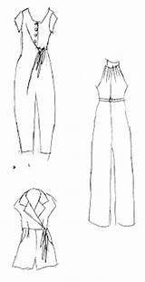 Jumpsuit Flat Template Sketch Jumpsuits Coloring Sewing Plans Summer Templates Pages sketch template