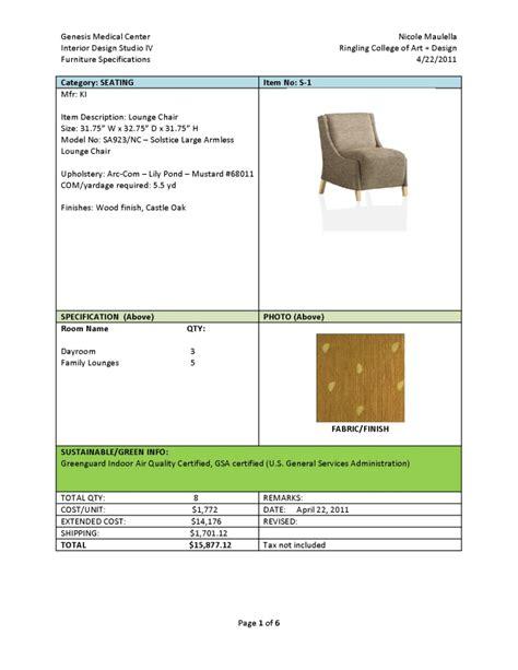 furniture specifications  budget  nicole maulella