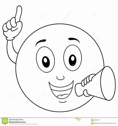 Smiley Coloring Megaphone Emoticon Happy Cartoon Background