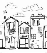 Neighborhood Coloring Pages Houses Town Barber Adult Drawing Colouring Neighborhoods Drawings Worksheets Buildings Shopping Template Quilts Books Street Printable Sketch sketch template