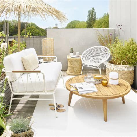 canap jardin pas cher canapé de jardin 2 places en métal blanc canapé