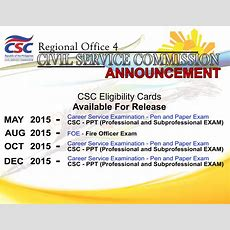 Civil Service Exam Ph List Of Csc Eligibility Cards Available For Release In Csc Region 4