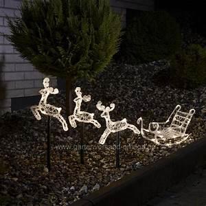 Led acryl set schlitten mit rentieren leuchtstabe set for Französischer balkon mit weihnachtsbeleuchtung für den garten