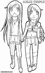 Coloring Couple Anime Pages Print sketch template