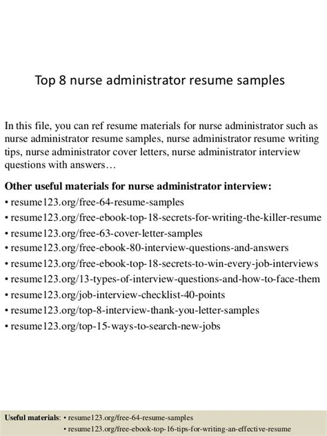 top 8 administrator resume sles