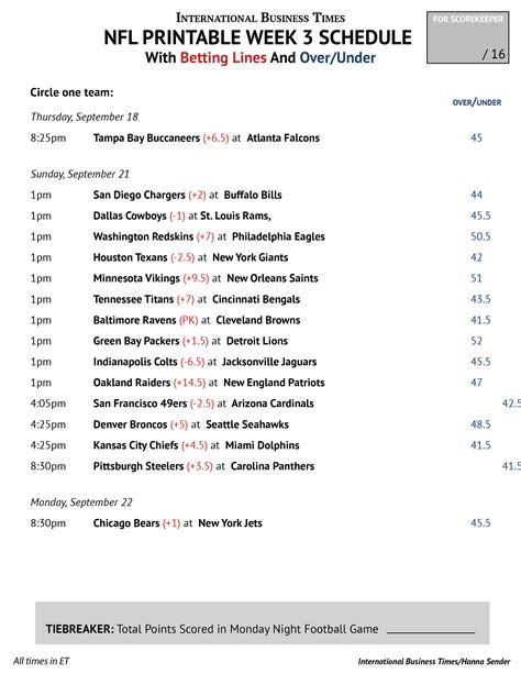 Office Football Pool Week 3 by Nfl Office Pool 2014 Printable Week 3 Schedule With