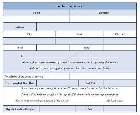 Purchase Agreement Form Template Ms Word
