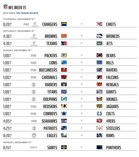 nfl  schedule week  regular season