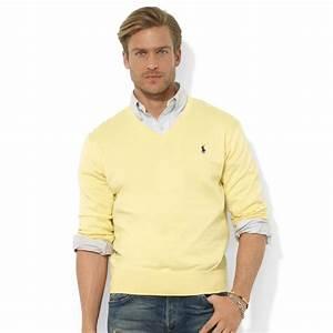 Lyst - Ralph Lauren Vneck Pima Cotton Sweater in Yellow ...