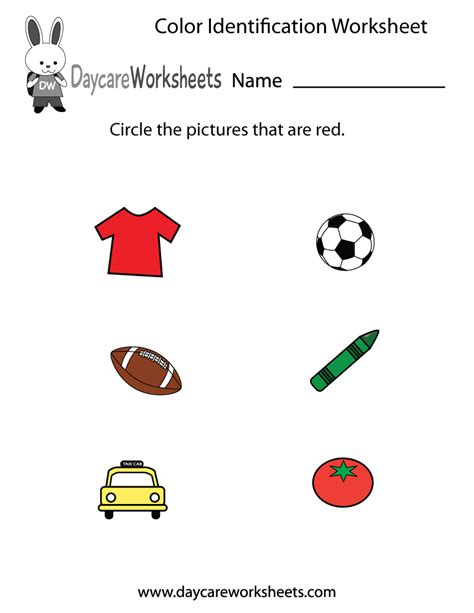 Free Printable Color Identification Worksheet For Preschool