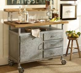 pottery barn kitchen island industrial style steel and wood table cart