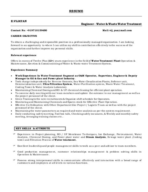 Wastewater Treatment Resume by Vijayan Resume