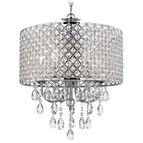 Crystal Chrome Chandelier Pendant Light with Crystal Beaded Drum Shade   2235 26   Destination