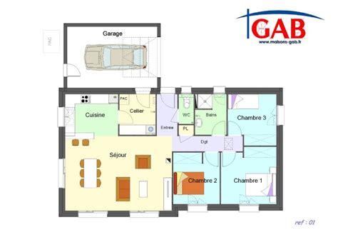 maison 3 chambre plan maison 3 chambres plain pied garage avie home plan