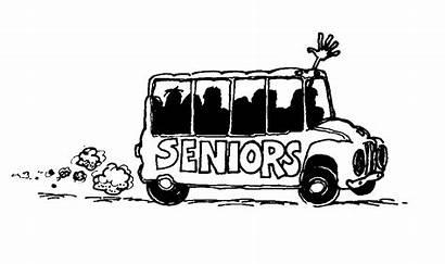 Bus Senior Seniors Clipart Cartoon Trip Elderly