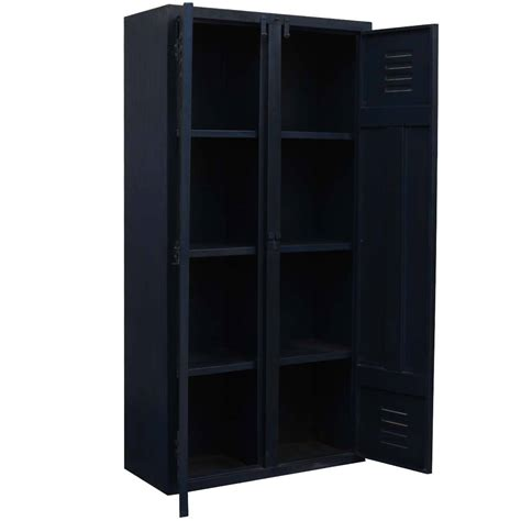Black Storage Armoire Classic Industrial Black Iron 4 Shelf Armoire Storage