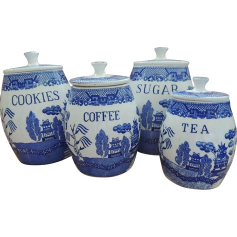Retro Canisters Kitchen by Blue Willow Canister Set Vintage Retro Kitchen In 2019