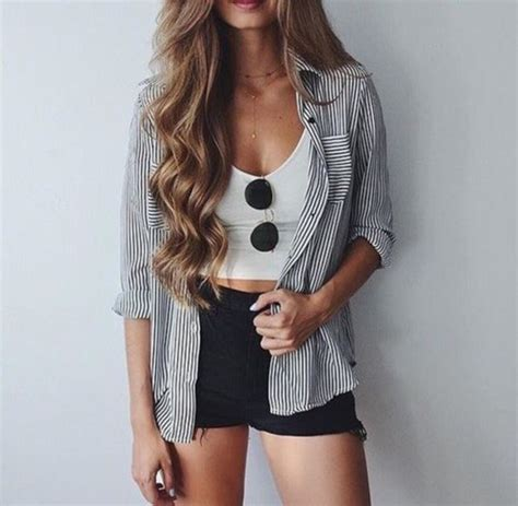 Shirt blouse stripes shorts summer outfits blue and white stripes button down shirt black ...